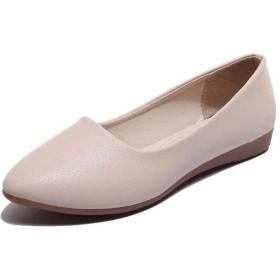 [AJGLJIYER LTD] フラットシューズ ポインテッドトゥ パンプス 24.5cm レディース ペタンコ 婦人靴 美脚 ローヒール ベージュ 歩きやすい 疲れない 低反発 走れる カジュアル 通勤 無地 スリッポン ファッション 軽量 ウオーキングシューズ