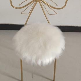 フェイクファー シープスキン ラウンド チェアパッド, ホーム 装飾 長い羊毛 シート クッション ソフト ふわふわ ぬいぐるみ シートカバー フィット ホーム オフィス レストランの椅子-a Diametro45cm(18inch)