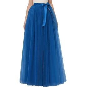 女性の夏のスカートファッションヴィンテージの女の子のスカート夏のエレガントなビーチカジュアルスカートレトロマキシ床長アンダースカートペチコートバレエスカートロングスカート (Color : Blau, Size : L)