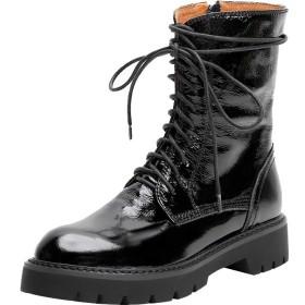 [ANNIESHOE] ラウンドトゥ ブーツ ブーティ レザー 本革 ファッション カジュアル エナメル レディース シューズ ブロックヒール 秋冬靴 ブラック エナメル 24cm