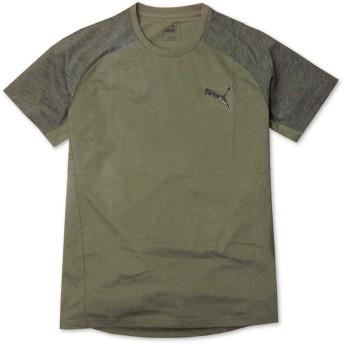 (カーキ M)メンズ Tシャツ 半袖 PUMA プーマ EVOSTRIPE DRYCELL 吸汗速乾 スポーツ ラグラン袖 ロゴプリント 紳士 メール便発送