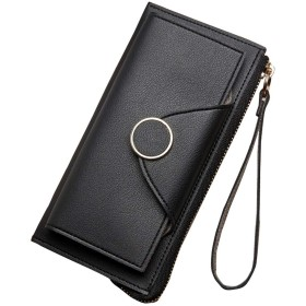 Kegiani 長財布レディース 二つ折り 大容量 スナップボタン ストラップ付き おしゃれ ブラック