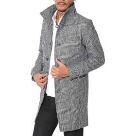 LUX STYLE(ラグスタイル) コート メンズ メルトン ウール ロングコート チェスター グレンチェックL
