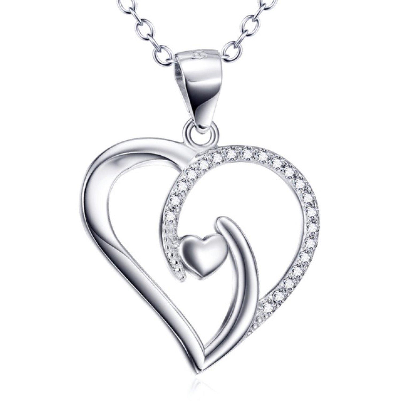 CS-DB Pendants Crystal Heart Silver Necklaces