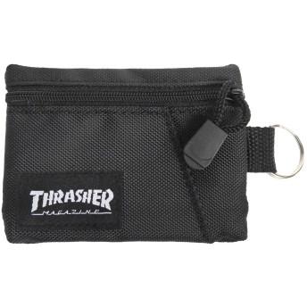 THRASHER コインケース スラッシャー 小銭入れ マグロゴ カードコインケース ミニ財布 (ブラック/ブラック, フリーサイズ(男女兼用))