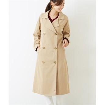 綿100% ウエストベルト付ビッグトレンチコート (コート)(レディース)Coat