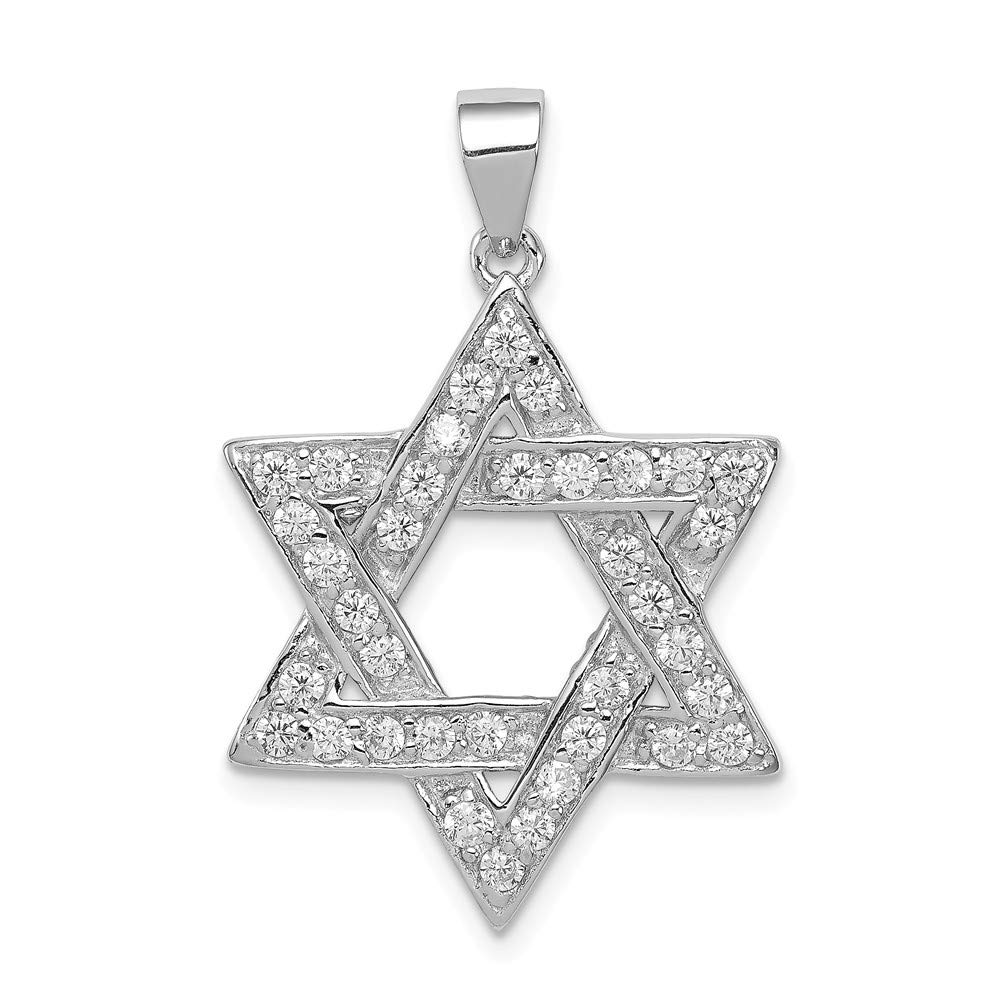 FB Jewels Solid 925 Sterling Silver And Cubic Zirconia CZ Key Pendant