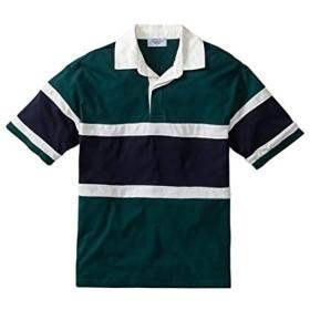 [nissen(ニッセン)] カノコ切替 半袖 ラガー シャツ ビッグシルエット メンズ グリーン系 M