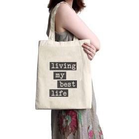 リネンキャンバスショッピングバッグ - 私の最高の人生を生きる - ママ、祖母、姉妹、姉妹へのとても良い贈り物-ファッションバッグ 大きさ35x37cm