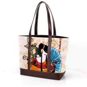 AyuStyle トートバッグ 和柄 花柄 和風 レディース 手提げバッグ 大容量 通勤 通学 バッグ ハンドバッグ ファスナー ユニセックス キャンバス puレザー 鞄 女性用