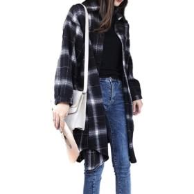 [スポシー] レディース ロングシャツ 羽織り チェックシャツ 長袖 ゆったり ビッグシルエット ネルシャツ カジュアル 秋冬 チェック柄
