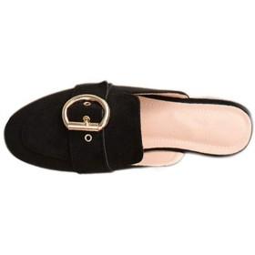 [リンゼ] 美脚ミュール スクエアトゥ カジュアル イギリス風 スリッポンシューズ パンプス つま先あり ハーフスリッパ 外出履き おしゃれ サンダル スリッパ 太ヒールの くろ 女性の靴 27.0cm ローヒール 軽量 デイリー パンプス