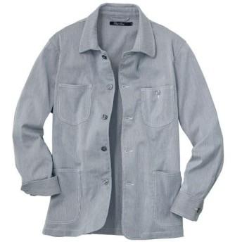 35%OFF【メンズ】 大人顔ストライプ素材の軽量ジャケット。うれしいストレッチ仕上げ彡 - セシール ■カラー:ネイビー系 ■サイズ:5L