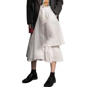[ワンース] Wansi スカート イレギュラーヘム レディーズ ロングスカート ミモレ丈スカート Aライン フレアスカート 無地 ホワイト L サイズ