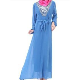 YAXINHE 女性ファッションイスラムルーズフィットコンフォートロングスリーブイスラムドレス Blue L