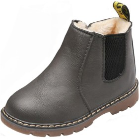 (ピピシダ)PPXID ショートブーツ 男の子 女の子 防水ブーツ 軽量 ジッパー付き 履きやすい 滑り止め 通園 通学 七五三 発表会 グレー 14cm