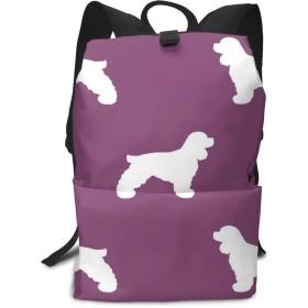 コッカースパニエルシルエット犬の品種アメジストミドルスクールバックパック用ティーンラージカジュアルカジュアル耐久性デイパック旅行リュックサック