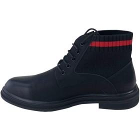 ブーツ メンズ 革靴 メンズ ワークブーツ カジュアルシューズ メンズ レースアップシューズ 紳士靴 ハイカット チャッカブーツ 黒 エンジニアブーツ ブラック キレイめ シンプル 24.0cm