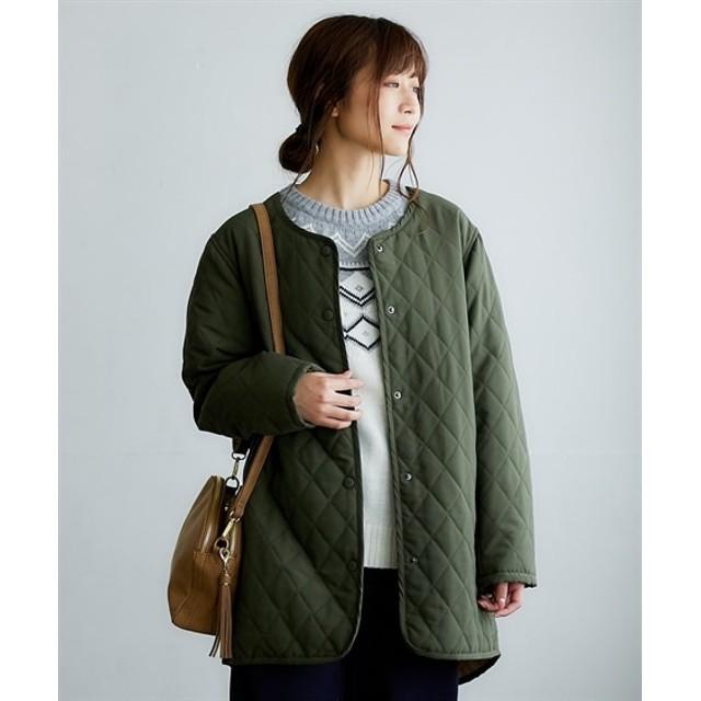 インナーとしても着られるノーカラーキルトコート (コート)(レディース)Coat, 大衣