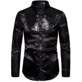 [MANMASTER(マンマスター)]長袖シャツ ワイシャツ スパンコール サテン 光沢 ステージ衣装 メンズCXH125 (3XL, ブラック)