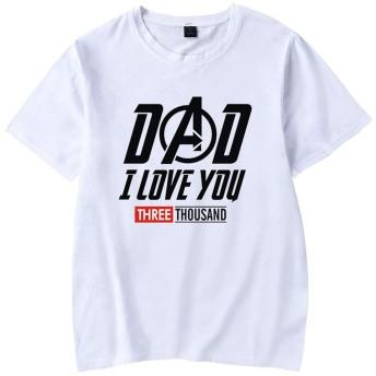 Pandolah 男女兼用 Tシャツ エンドゲーム4 台詞I LOVE YOU 3000 TIMES 大きサイズあり ファション (L,White-DAD英字A)