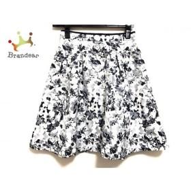 アプワイザーリッシェ スカート サイズ0 XS レディース 美品 白×ネイビー×マルチ 花柄 新着 20190920