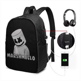 マシュメロ,Marshmello USBバックパッククラシックコンピューターバッグ17インチラップトップバックパック旅行ビジネスラップトップバックパックユニセックス大容量で耐久性のあるバックパック