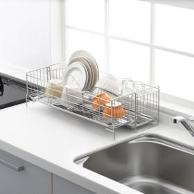 広げて使える水切りラック ワイド 洗う食器の量に合わせて伸縮 トレー付き 水切りかご 日本製 オールステンレス <ヨシカワ>