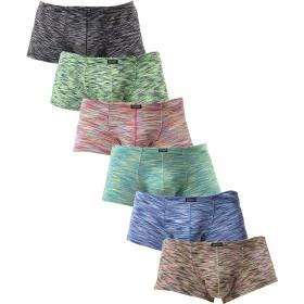 iKingskyメンズ柔らかボクサーセクシーローライズインナー立体縫製男性下着 (L, 6色)