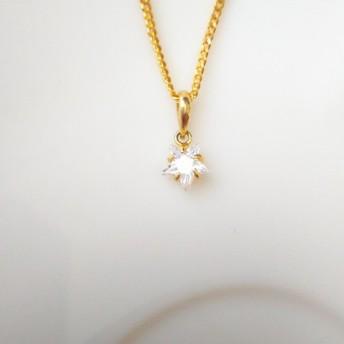 ジルコニア星のクリスタルゴールドネックレス No.001-00036