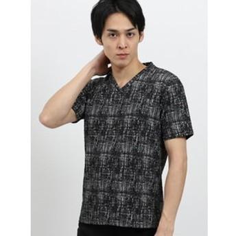 【semantic design:トップス】かすれふくれジャガードVネック半袖Tシャツ