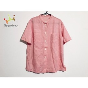 ユキコハナイ YUKIKO HANAI 半袖シャツブラウス サイズ10 L レディース ピンク×アイボリー 刺繍 新着 20190920