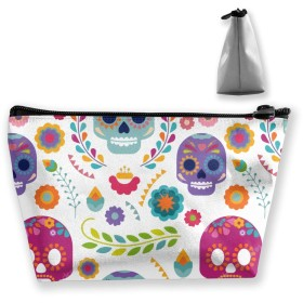 Makeup Bag Toiletry Pouch Cosmetic Bag with Sugar Skull with Exotic Flowers Pattren Patterns