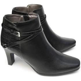 [テーン] 靴 ブーツ TN1734 レディース ベルト飾り サイドジップ 異素材コンビ ショート スエード レザー ブラック ダークブラウン ネイビー ブラック 24.5cm