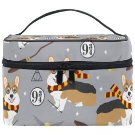 メイクボックス かわいい犬柄 化粧ポーチ 化粧品 化粧道具 小物入れ メイクブラシバッグ 大容量 旅行用 収納ケース