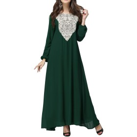 Qianliniuinc レディース アバヤ カフタン ドレス イスラム 教徒 ローブ - 長袖 レース マキシ ドレス モロッコ イスラム ドバイ パーティー ウェア Mサイズ グリーン