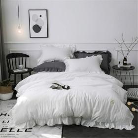 布団カバー,MooWooシングル 3点セット ベッドシーサイズ(150cmX210cm)アンティーク風 寝具カバーセット 枕カバー ボックスシーツ 掛け布団カバー ベッド用 可愛いフリル付きピローケース 無地 (ホワイト, シングル)