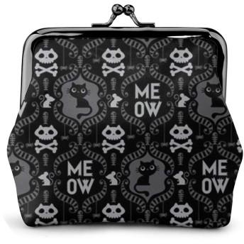 がま口 小銭入れ スカル猫 財布 コインケース レディース 収納バッグ 革 大容量 柔らかい 高級 丸形 軽量 便利 通勤 通学