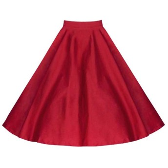 スカート女性カジュアル若者のファッション夏のスカート女性のドレスショートRoeckロカビリープリーツスカート膝丈Stoffdreuckヴィンテージ夏スカート (Color : Rot, Size : L)