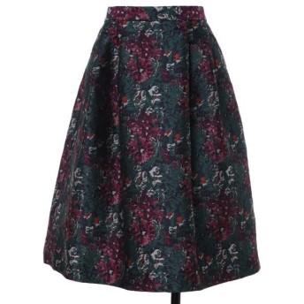 ef-de L / エフデ(エルサイズ) 《大きいサイズ》ヴィンテージ調ジャガードスカート《Maglie par ef-de》
