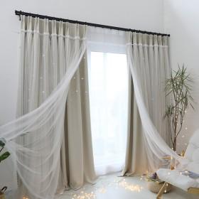 Nclon 遮光ブラインド カーテン,不透明です 純粋な色 断熱 中空 つ星の評価 ベッド プリンセス セーリング-ベージュ1錠 W200cmD270cm