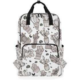 Black White Cactus のための肩のバックパックの学生の軽量のおむつ袋旅行余暇子供の女の子の男の子