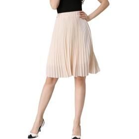 ASHERANGELレディース 膝丈 プリーツスカート 通勤 ベーシック スカート シンプル ふんわり ウエストゴム 着痩せ 無地 ひざ丈 13color フリーサイズ ベージュ