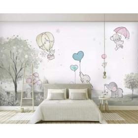壁紙ウォールステッカー3Dの壁紙素敵な漫画象漫画クマ熱気球動物部屋の背景の壁3Dの壁紙