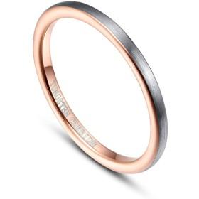 Vakki(ヴァッキ) 指輪 レディース メンズ リング タングステン 細身 甲丸 男女兼用 ピンキーリング シンプル カラー:グレー&ピンクゴールド 幅:2mm