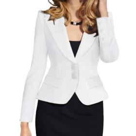 GodeyesW 女性ボタンロングスリーブラペル固体ショートスリムブレザースーツ White XS
