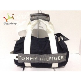 トミーヒルフィガー TOMMY HILFIGER ハンドバッグ 美品 ダークネイビー×白×マルチ キャンバス 新着 20190920