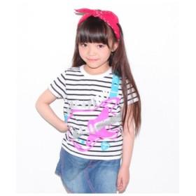 (ANAP KIDS/アナップキッズ)ベースプリントボーダーTシャツ/レディース ホワイト