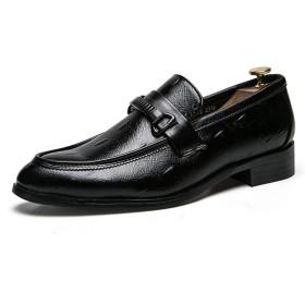[ランボ] カジュアルシューズ メンズ スリッポン スニーカー メンズ コンフォートシューズ くろい ドライビングシューズ フォーマル 24.5cm ビジネスシューズ 紳士靴 革靴 軽量 クッション 靴 メンズシューズ