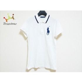 ラルフローレン 半袖ポロシャツ サイズS レディース 美品 ビッグポニー 白×ネイビー 新着 20190920